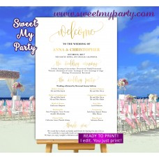 Gold Wedding Welcome Sign with program,Gold Wedding Program sign,(025w)