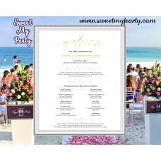 Gold Wedding Welcome Sign with program,Modern Wedding welcome sign,(027w)
