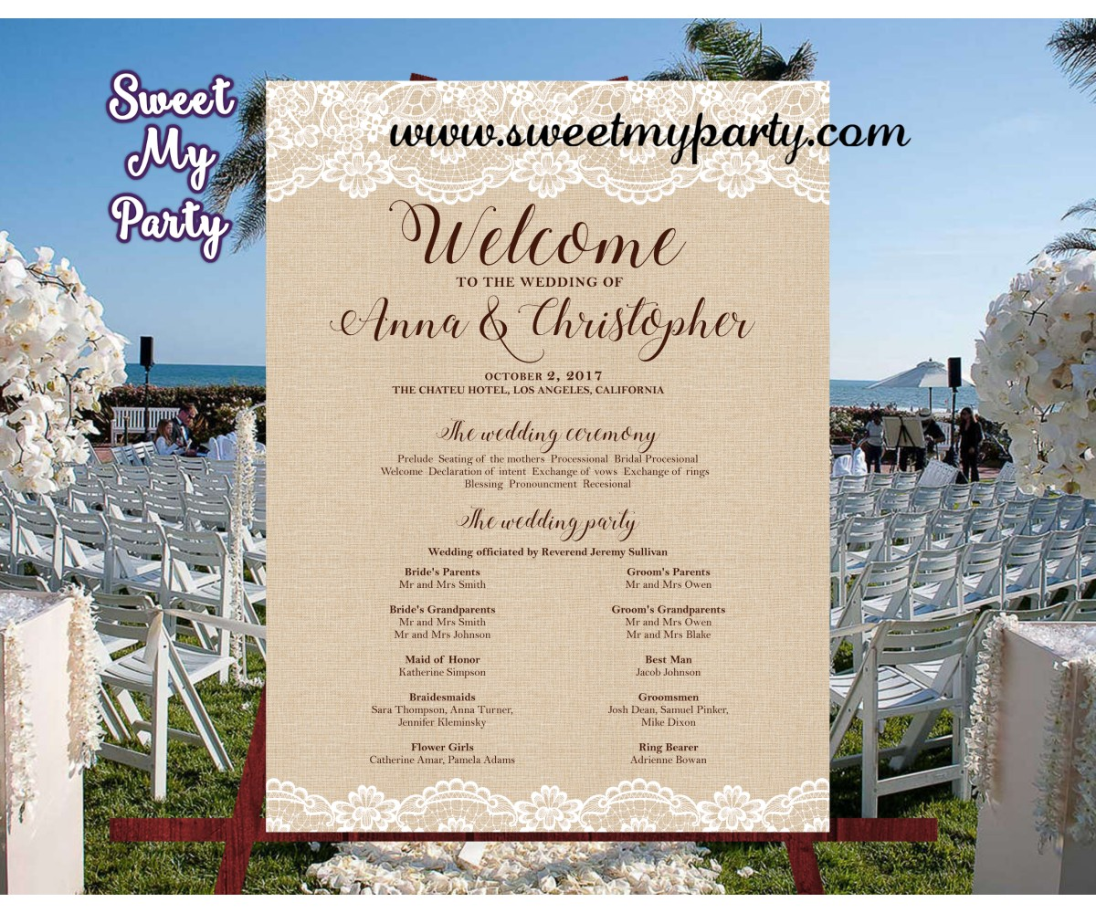 Rustic Wedding Welcome Sign with program,Lace Burlap Welcome sign with program,(029w)