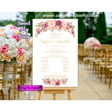 Blush Wedding Program Sign,Gold Wedding Welcome sign with program,(31kw)