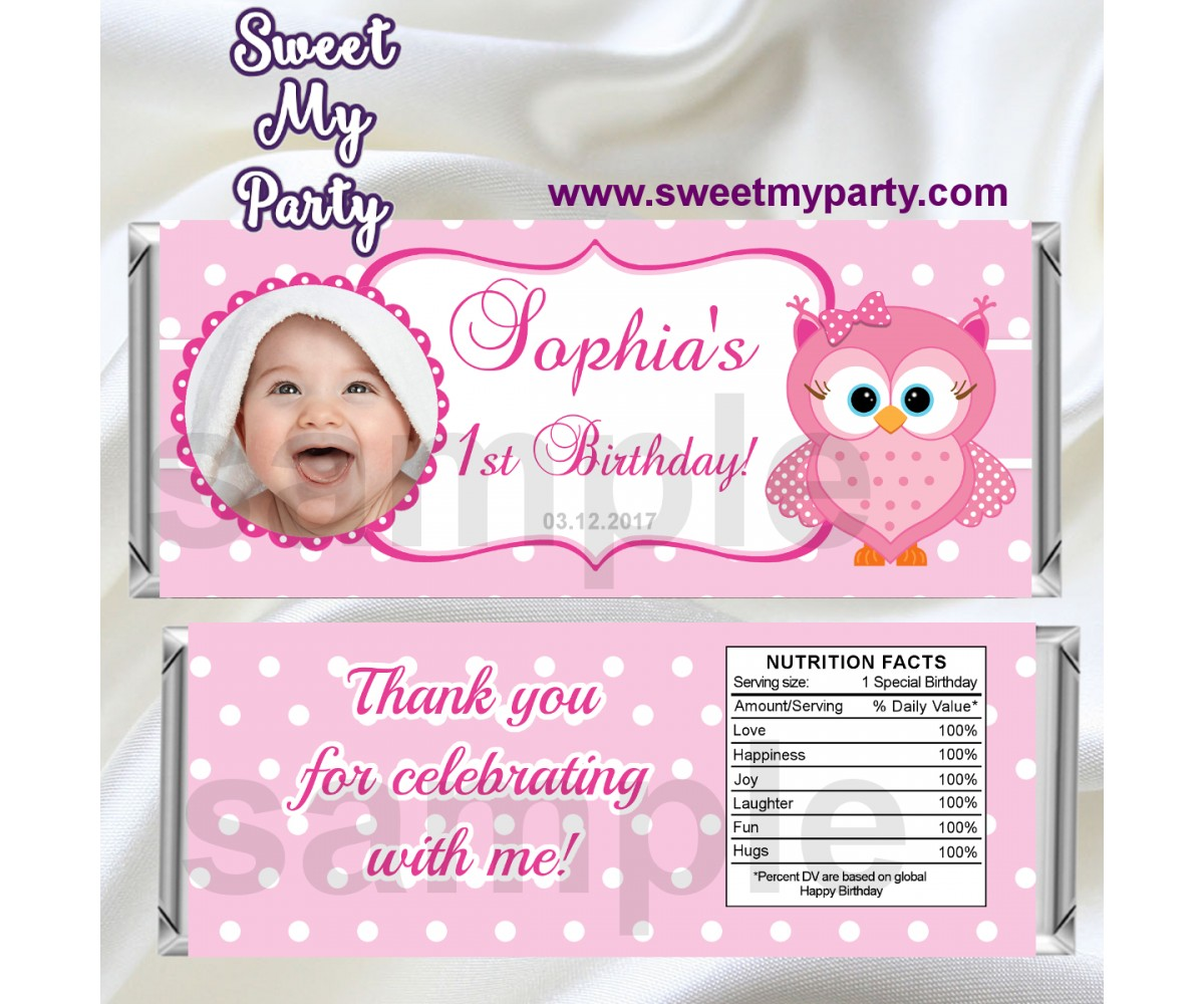 Pink Owl Candy Bar Wrappers with photo,Pink Owl Birthday Candy Bar Wrappers,(03ok)