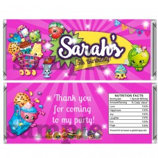 Shopkins pink candy bar wrappers, (2)