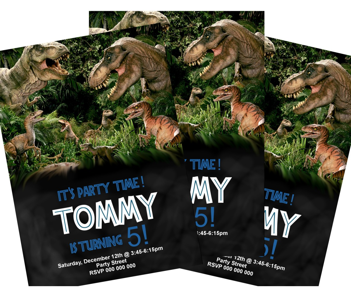 Dinosaur birthday invitations,(163 jurassic)