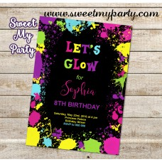 Let's Glow Birthday Party Invitation,(1kr)