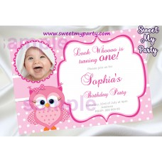 Pink Owl Birthday Party Invitation with photo,Pink Owl Birthday Party invite,(03ok)