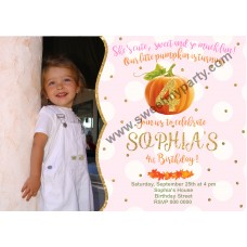 Pumpkin Birthday Invitation with photo,(001kpump)