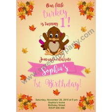 Turkey Birthday Invitation,(001)