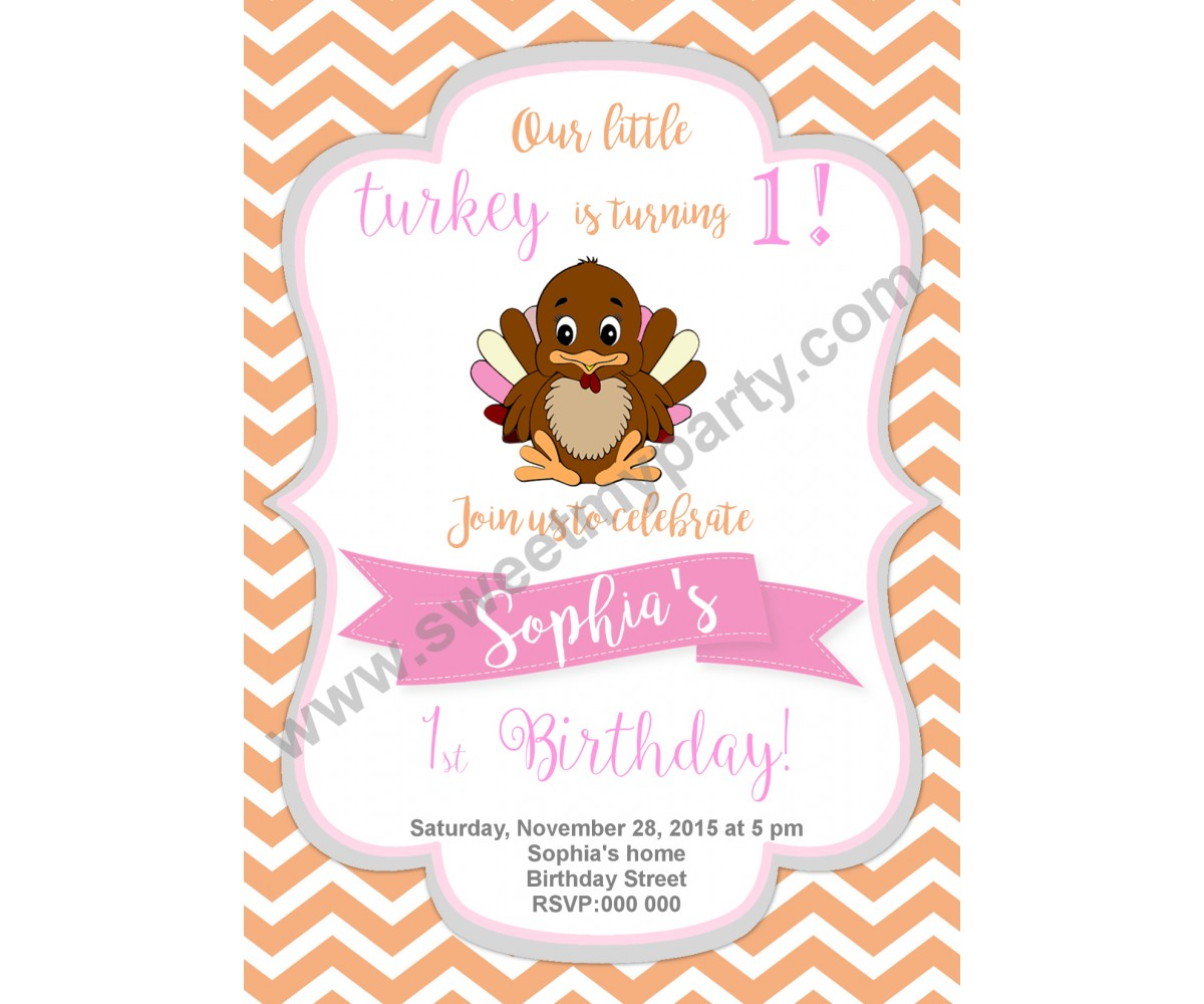 Turkey Birthday Invitation,(002)