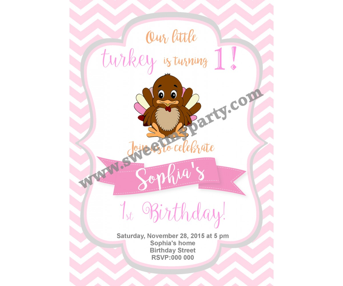 Turkey Birthday Invitation,(003)