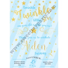 Twinkle Twinkle Little Star Birthday Invitation,(004)