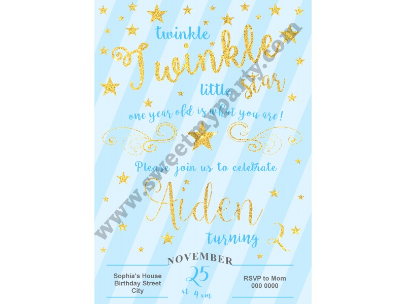 Le Little Star Birthday Invitations For Boy Blue