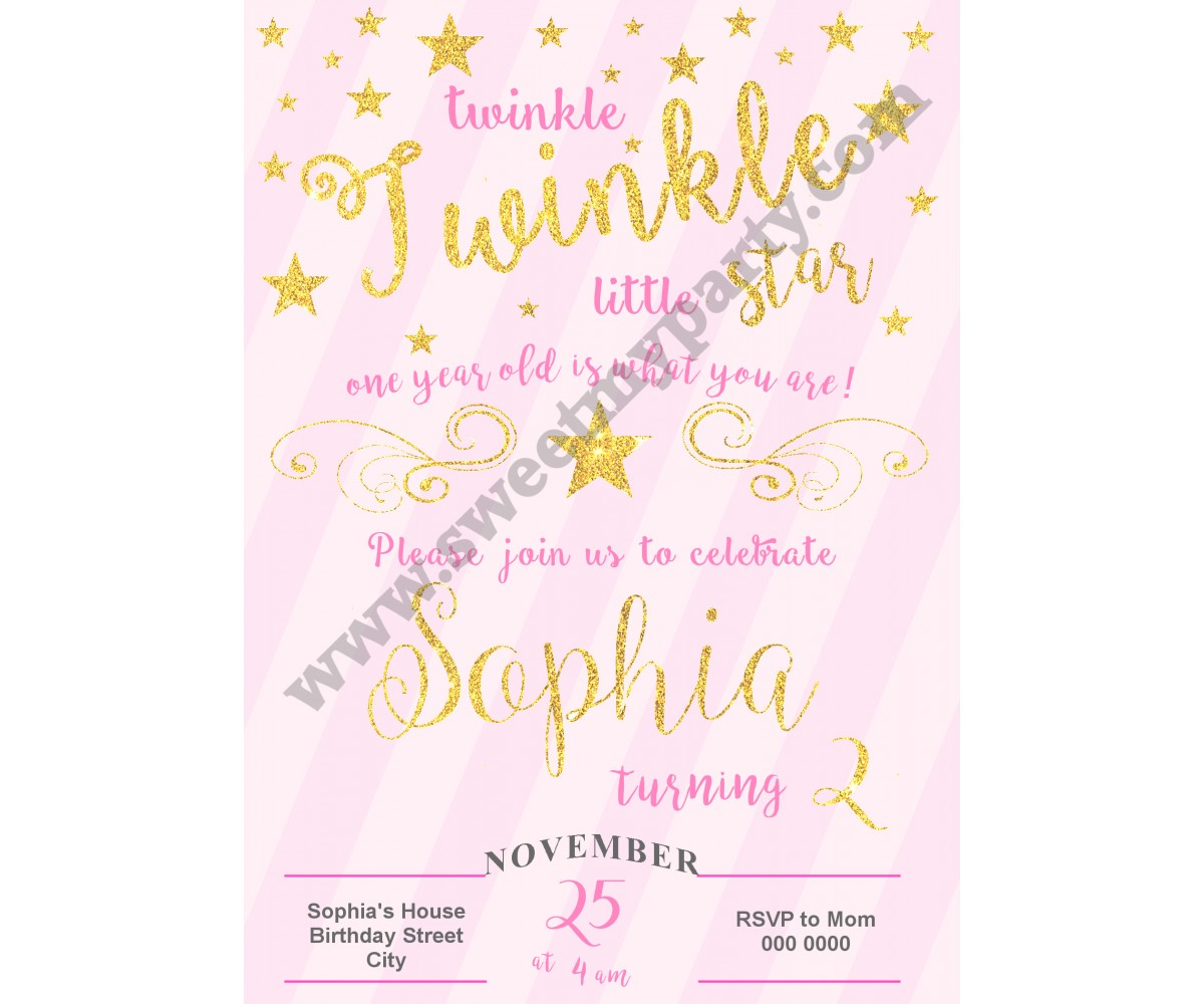 Twinkle Twinkle Little Star Birthday Invitation pink,(005)