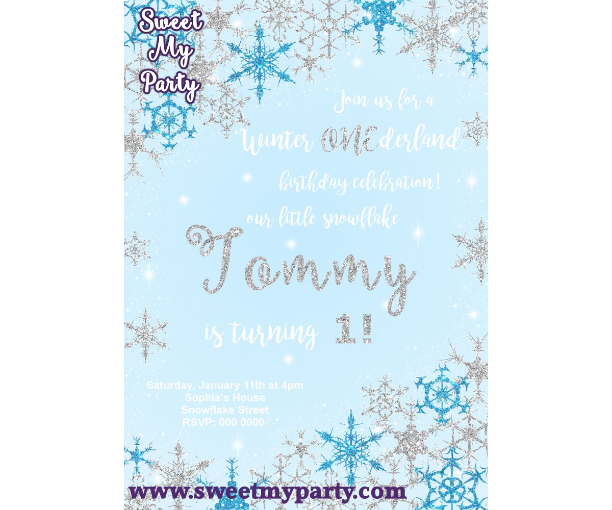 Winter Onederland Invitation silver blue,(12)