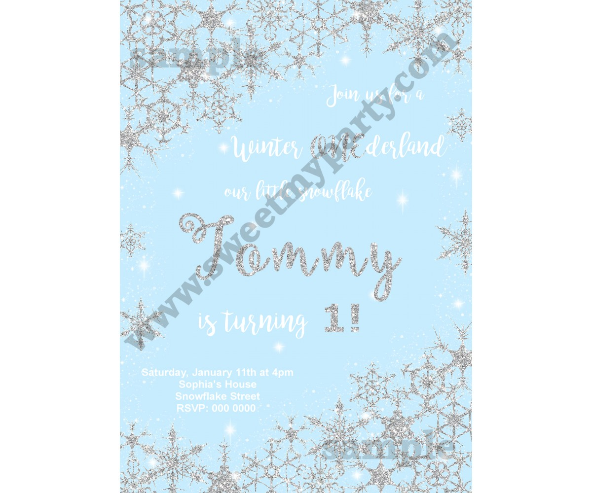 Winter Onederland Invitation silver blue,(6)