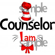 Counselor I am iron on transfer, Cat in the Hat iron on transfer for Counselor,(1s)