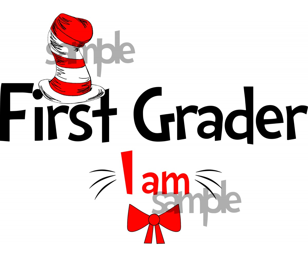 First Grader I am iron on transfer, Cat in the Hat iron on transfer for First Grader, (1s)
