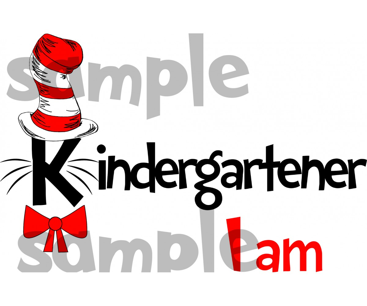 Kindegartener I am iron on transfer, Cat in the Hat iron on transfer for Kindergartener, (1s)