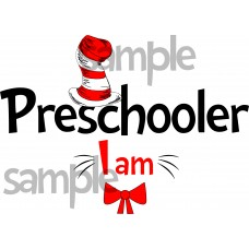 Preschooler I am iron on transfer, Cat in the Hat iron on transfer for Preschooler, (1s)