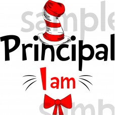 Principal I am iron on transfer, Cat in the Hat iron on transfer for Principal,(1s)