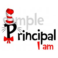 Principal I am iron on transfer, Cat in the Hat iron on transfer for Principal(2s)