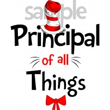 Principal of all Things iron on transfer, Cat in the Hat iron on transfer for Principal,(1s)