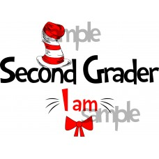 Second Grader I am iron on transfer, Cat in the Hat iron on transfer for Second Grader,(1s)