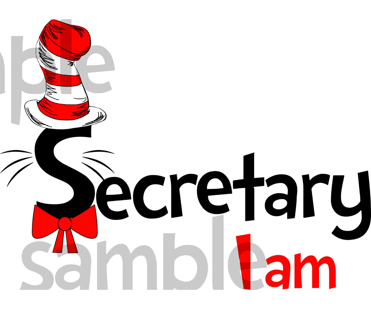 Secretary I am iron on transfer, Cat in the Hat iron on transfer for secretary,(1s)