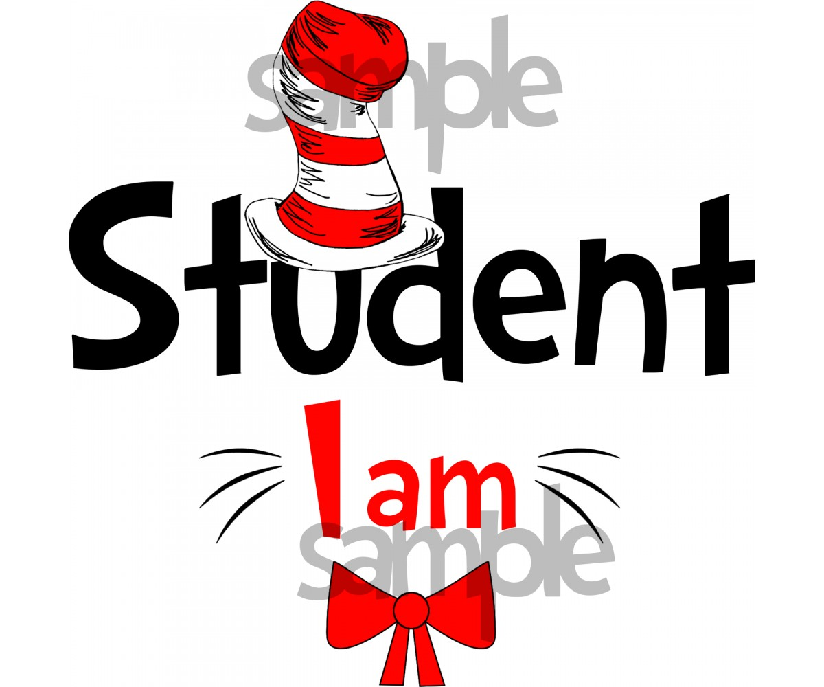 Student I am iron on transfer, Cat in the Hat iron on transfer for Students, (1s)