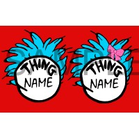 Thing 1 Thing 2 iron on transfer, Cat in the Hat iron on transfer,(8)
