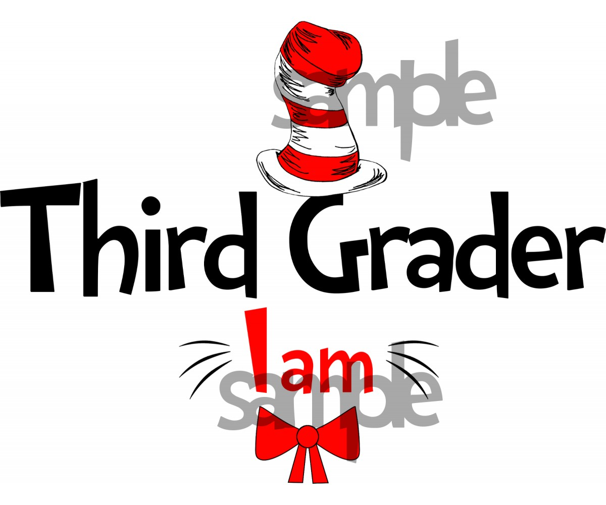 Third Grader I am iron on transfer, Cat in the Hat iron on transfer for Third Grader, (1s)