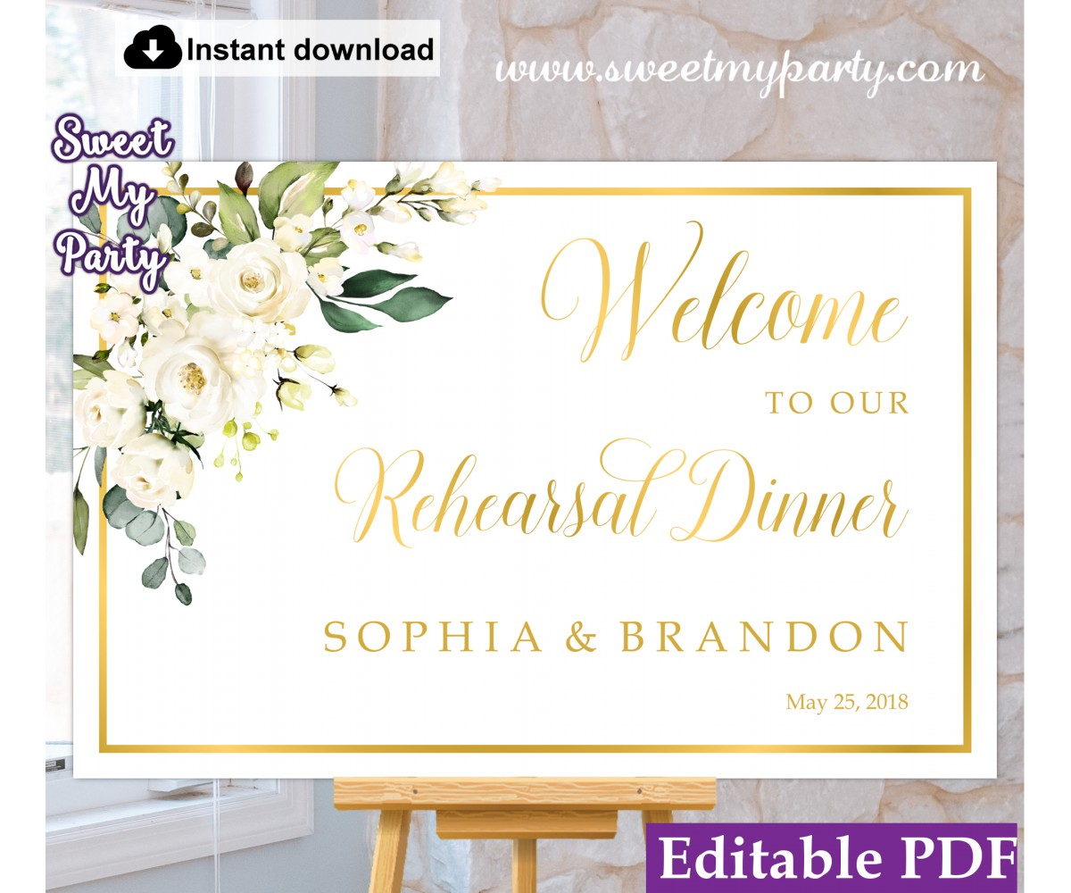 Ivory Flowers Rehearsal Dinner welcome sign template,Rehearsal Dinner welcome sign,(123a)